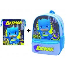 Mochila guardería Batman con bolsillo + Saquito (guardería - E.infantil - paseo)