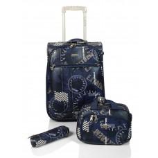 Set maleta cabina + bolsa + portatodo Stamp Azul