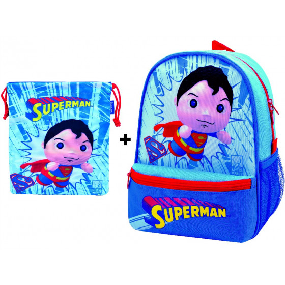 Mochila guardería Superman con saquito