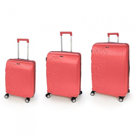 Conjunto de tres maletas Bloom coral
