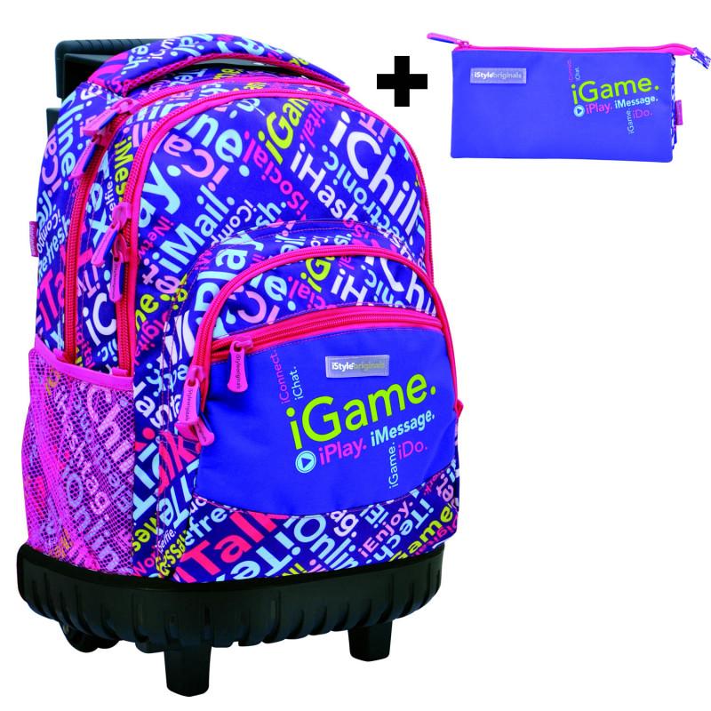 84a9bb8ef1b mochila carro incorporado para niña + estuche ...