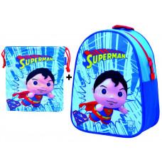 Mochila guardería Superman + Saquito (guardería - E.infantil - paseo)